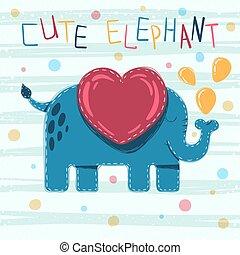 cute, -, ilustração, elefante, bebê, caricatura