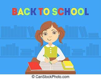 cute, ilustração, escola, bandeira, sentando, escrivaninha, estudante, vetorial, costas, menina, elementar, modelo