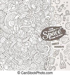 cute, ilustração espaço, mão, doodles, desenhado, caricatura