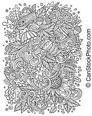 cute, ilustração, mão, outono, doodles, desenhado, caricatura