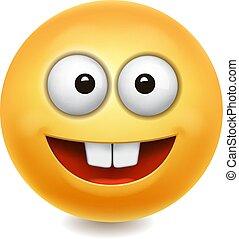 cute, ilustração, rosto, vetorial, amarela, ícone, sorrizo