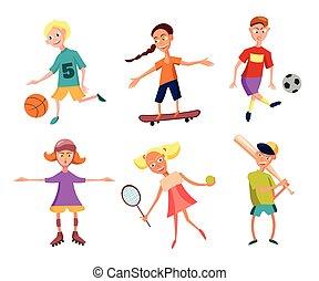 cute, ilustração, tocando, sports., vetorial, cobrança, ativo, crianças, kids., feliz