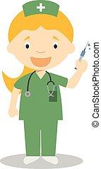 cute, ilustração, vetorial, femininas, enfermeira, caricatura