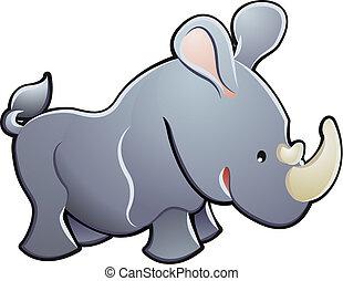 cute, ilustração, vetorial, rinoceronte