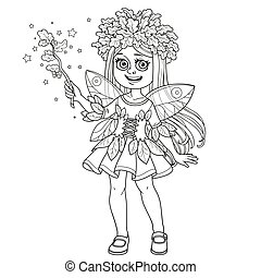 Cute in a fairy costume dressed in a suit of oak leaves and with magic wand with leaves and acorns outlined isolated on white background