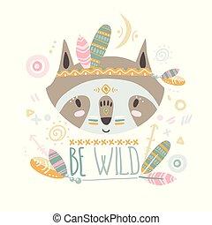 Cute indian baby raccoon. Hand drawn vector illustration. For ki
