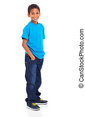 cute indian boy standing isolated on white background