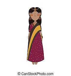 Cute indian girl with gold jewelry and national dress