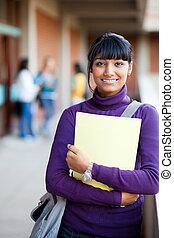 cute indian high school girl in school