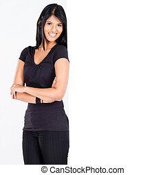 woman lean on blank white board