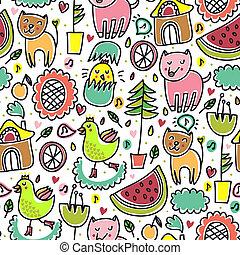 cute, infantil, seamless, coloridos, padrão