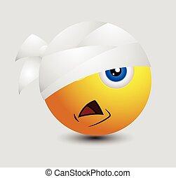 Cute Injured Emoticon Vector Illustration