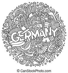 cute, inscrição, mão, alemanha, doodles, desenhado, caricatura