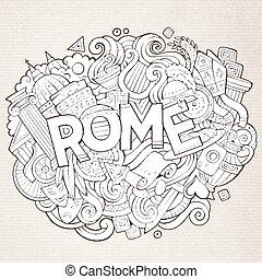 cute, inscrição, mão, roma, doodles, desenhado, caricatura