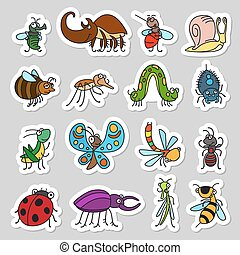 Cute insects and bugs stickers set