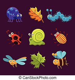 Cute Insects and Leaves with Emotions. Vector Illustration