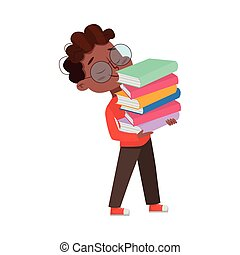 Cute Intelligent African American Boy in Glasses Carrying Stack of Books, Education and Knowledge Concept Cartoon Style Vector Illustration