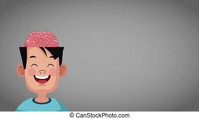 Cute intelligent boy HD animation