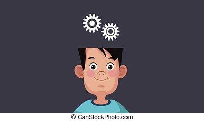 Cute intelligent boy HD animation
