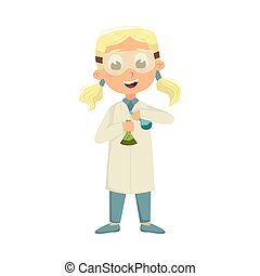 Cute Intelligent Girl in Lab Coat Doing Chemical Experiment...