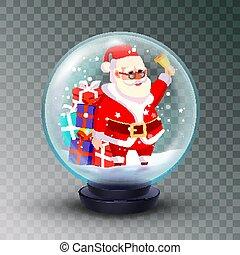 cute, inverno, element., globo, claus, fundo, isolado, ilustração, neve, realístico, desenho, natal, santa, gifts., 3d, toy., xmas, transparente, vector.