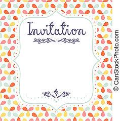 cute, invitation, begivenheder, skabelon, festlige