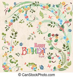 Cute invitation card with birds on floral branch. Happy birthday