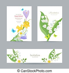 cute invitation cards with fine collection spring flowers for yo