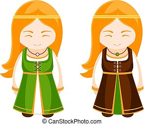 Cute Irish girls in national dress.