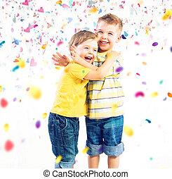 cute, irmãos, coloridos, dois, mundo, desfrutando
