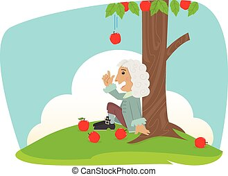 Isaac Newton - Cute Isaac Newton is sitting under an apple...