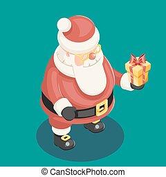 cute, isometric, 3d, natal, papai noel, avô, geada, caixa presente, ano novo, caricatura, apartamento, desenho, ícone, modelo, vetorial, ilustração