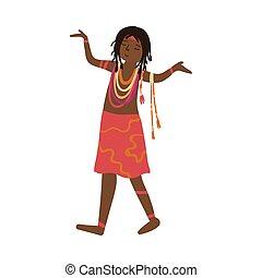 cute, jóia, coloridos, aboriginal, africano, vestido, vermelho, mulheres