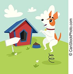Cute jack russell terrier dog jumping on springboard in front of its kennel in garden on summer day vector Illustration in cartoon style