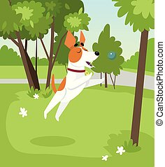 Cute jack russell terrier dog playing with ball in the park on summer day vector Illustration in cartoon style