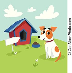 Cute jack russell terrier dog sitting in front of its kennel in a garden, summer rural landscape vector illustration