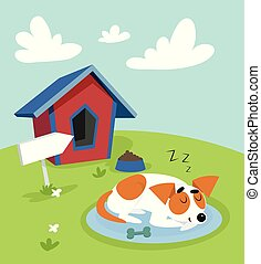 Cute jack russell terrier dog sleeping on a mat in front of its kennel in garden on summer sunny day vector Illustration in cartoon style