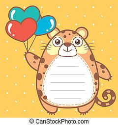 cute jaguar of scrapbook background