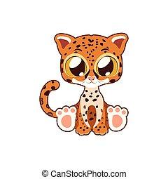 Cute jaguar vector illustration art in flat color