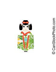 cute Japanese Kokeshi Dolls illustrator design