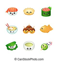 cute, japansk mad, iconerne