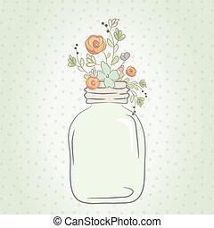 cute, jarro., buquet, ilustração, vidro, vetorial, casório, flores