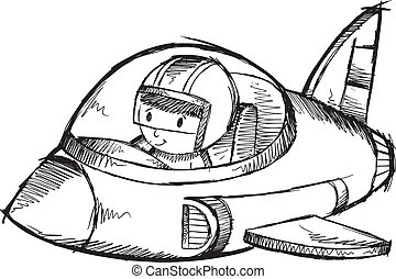 Jet Plane Sketch Doodle Vector - Cute Jet Plane Sketch ...