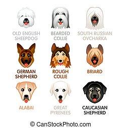 cute, jogo, ícones, cão, iv