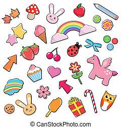 cute, jogo, ícones