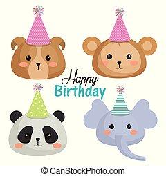 cute, jogo, animais, cartão aniversário, feliz