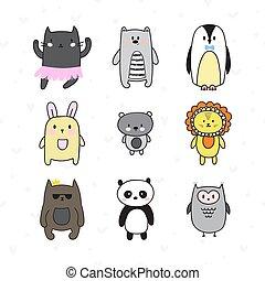 cute, jogo, animais, doodle, cobrança, mão, characters., desenhado, sorrindo