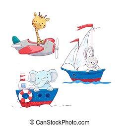 cute, jogo, animais, illustration., criança, sailboat, lebre, avião, ar, girafa, transporte, elefante mar, caricatura, steamship