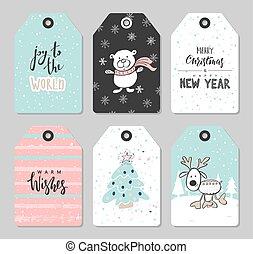 cute, jogo, animais, illustration., elements., etiquetas, mão, decoração, vetorial, desenhado, natal