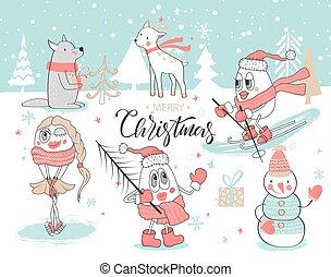 cute, jogo, animais, illustration., hand-drawn, year., vetorial, feliz, snowmen., novo, natal, feliz
